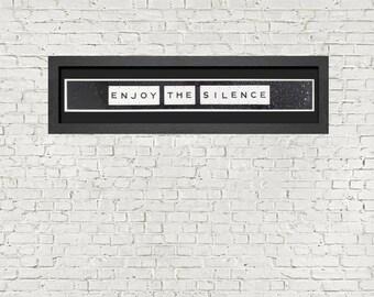 Inspired By DEPECHE MODE Lyrics - Enjoy The Silence - Framed Wall Art In Black Frame (96cm x 25cm)
