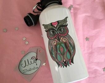 Owl Animal Mandala Water Bottle, Stainless Steel 600ml, Gym Bottle, Original Illustrated Design, FREE personalisation
