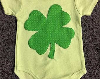 St. Patrick's Day Green Four Leaf Clover Baby Onesie