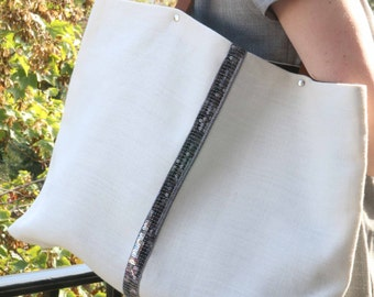 Linen tote bag/off-white linen tote/shopping tote/hand/tote bag purse