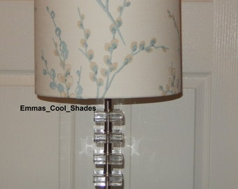 Duck egg lampshade etsy new handmade lampshade laura ashley pussy willow duck egg floral fabric drum 20cm 30cm aloadofball Images