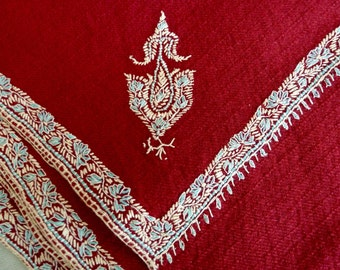 Antique Wool Shawl with Fine Silky Embroidery - Deep Red - Unusual Weave - Oversize Lightweight Wool Wrap - Embroidered Shawl - Boho Chic