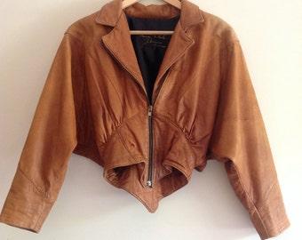 Vintage Tan leather batwing jacket 80s