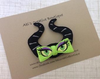 Maleficent inspired hair clip/ embroidered felt hair clip/ 3D bow hair clip