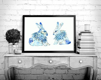Rabbit watercolor painting, Blue Rabbit art,A pair of rabbits,Blue bunny ,Bunny illustration ,A couple of rabbits, Home Décor ,Boys room art