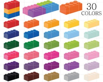 Lego Clipart, Lego Bricks Clip Art, Colorful Legos, Rainbow Lego Bricks, Lego Brick Clipart, Lego Bricks Digital