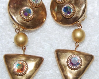 Vtg. Dangling Earrings--Gold tone with Large Rhinestones--CLIP
