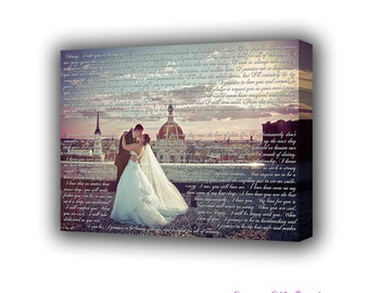 First Wedding Anniversary Gift Vows to Cotton Canvas First Dance Lyrics Personalized Gift for Her Him Custom Canvas Print Canvas Pictures
