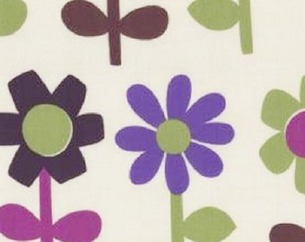 "Kokka ""Trefle"" Big Bright Flowers on Ivory    Cotton Fabric    BTY"