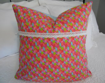 Toddler/ Teen Pillow cover, little girls geometric pillow cover, pastels. Product ID# P0054