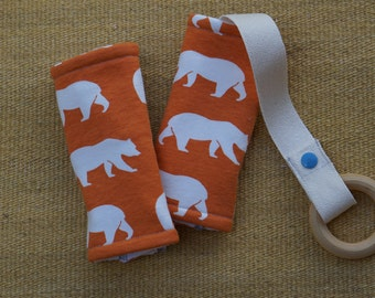Orange Bears Organic Baby Carrier Teething Pads. Drool Pads. Baby Wearing. Protective Pads. Teething Pads. Ergo. Boba. Beco. Lillebaby.