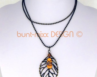 Ball chain necklace bronze Venzian-bead large leaf pendant saffron yellow colored-mixx-DESIGN