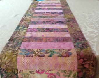 Pink and green batik table runner