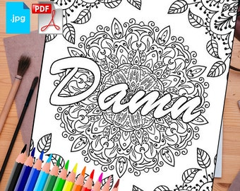 Adult Coloring book printable Page: Swear word Print at home Digital Download, instant download JPG & PDF, Most popular sweary coloring page