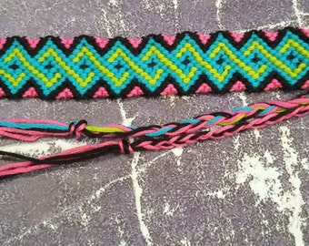 Psychedelic Neon Green Blue and Pink Wave Bordered Woven Bracelet