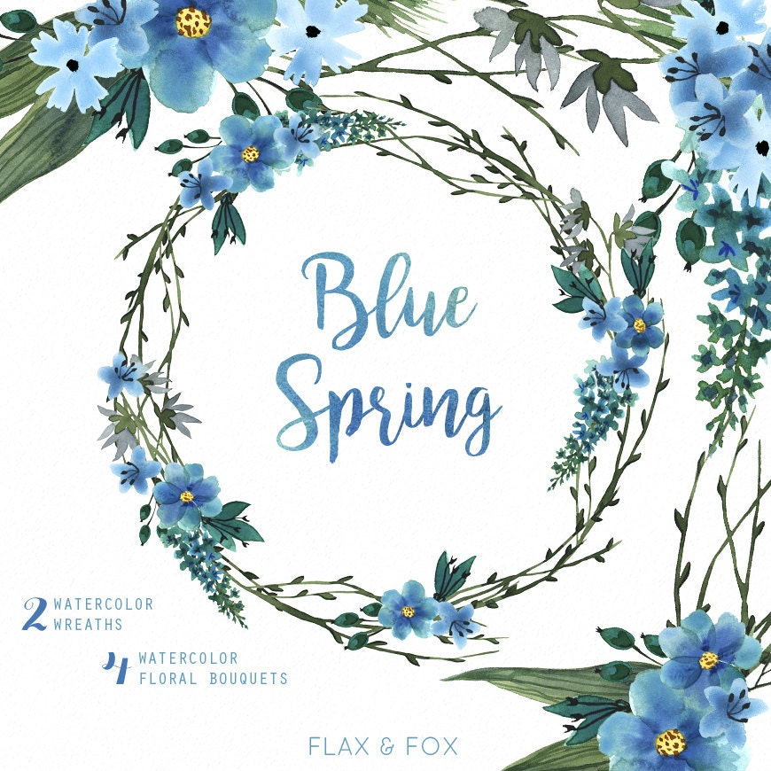 Blue Spring Watercolor Bouquets Wreath hand painted clipart
