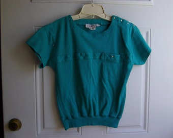 Sea Green Short Sleeve Pull-on Top by Chaus, Size Small