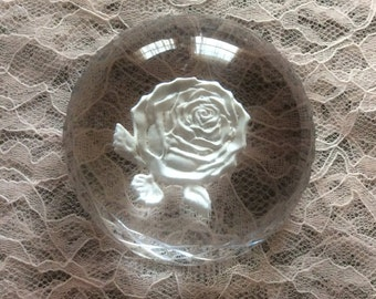 Waterford Intaglio Rose Paperweight
