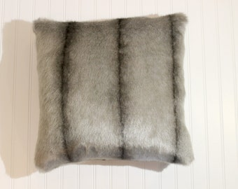 20x20 luxe faux fur pillow cover decorative throw grey faux fur pillow cover