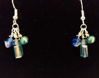Blue-green glass earrings