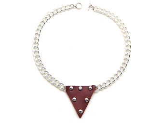 Metal and leather Garnet - necklace metal and leather necklace garnet