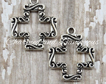 10 pewter square filigree cross charms (CM33)