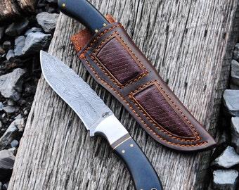 Custom Handmade Damascus Fixed Blade Hunting knife (Micarta Handle)