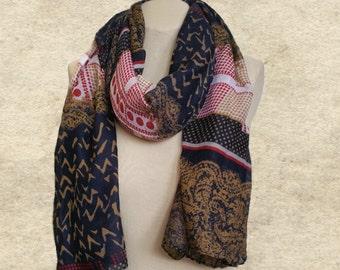 Trendy women's scarf, Cotton blend scarf, Womens shawl scarf, Geometric pattern, Tribal print scarf, Gypsy hippie scarf, Fall autumn acarf