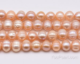 Big hole pearls, pink cultured freshwater pearls, 10-11mm potato pearl beads, up to 2.5mm large hole pearl, baroque ringed, FQ800-PS