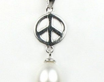 White pearl pendant, Peace symbol freshwater pearl pendant, sterling 925 silver pearl charm, genuine pearl pendant charm, 7-8mm, F2155-WP