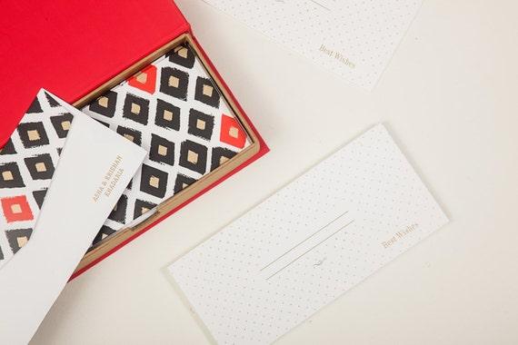 Indian Wedding Gift Envelopes : GIFT / MONEY ENVELOPES Red & Black Ikat Print - Indian Wedding Favor ...