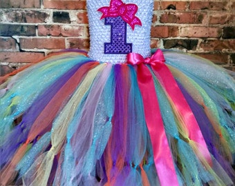 personalized purple first birthday dress,rainbow birthday tutu dress,personalized purple birthday tutu dress,custom birthday tutu dress