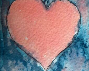 Baby Room Print Heart Digital Download Art Print Decor Valentine's Gift Print Wall Art Heart Downloadable Print Watercolor Heart Printable