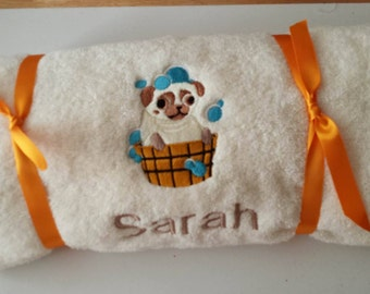 PUG embroidered bath towel  gift present