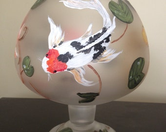 Hand Painted Large Brandy Snifter with Koi