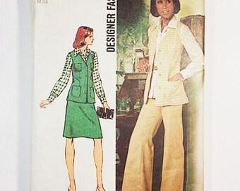 70s Pantsuit Pattern   Simplicity 5812 Misses Vest & Pants Pattern   70s Sewing Pattern