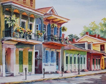 """Vieux Carre, historic New Orleans French Quarter 12x16"""" fine art giclee print of original watercolor painting"""