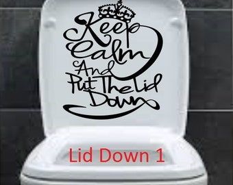 Keep Calm and Put lid downFunny Toilet Seat Bathroom Sticker Fast Shipping decorative vinyl decor decoration decal cheap  Removable poop on
