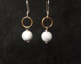 Howlite Earrings, Marble Earrings, Marble Jewellery, White Earrings, Sterling Silver Earrings, Gold Earrings, Earrings