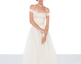 Champagne silk wedding top / off-the-shoulder silk wedding top / wedding bodice / bridal separates / colour & customisation available