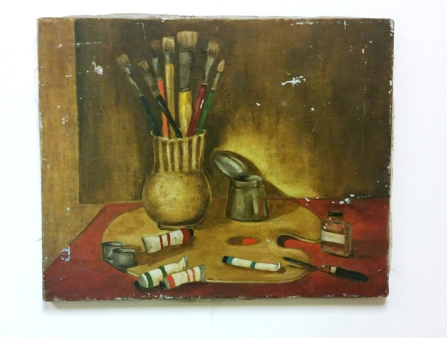 Vintage still life of art supplies oil painting for Canvas painting supplies