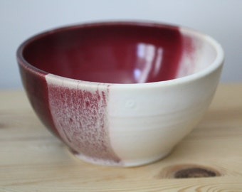 Plum and White Ceramic Bowl – Handmade Pottery Bowl – Salad Bowl – Ice Cream Bowl – Cereal Bowl