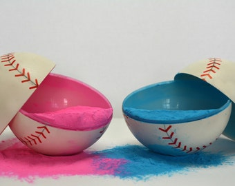 2 Gender Reveal Baseballs (Color combination of choice) (Labeled individually)
