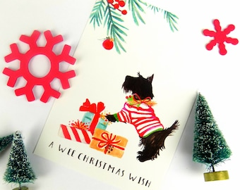 Cute Scotty Dog Christmas Postcard
