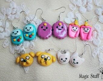 Adventure Time Earrings Finn & Jake Bro Hugs Earrings made with polymer clay Lumpy Space Princess earrings BMO earrings Jake the dog