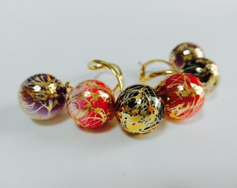 14kgf/Japanese style earrings/colored carp/