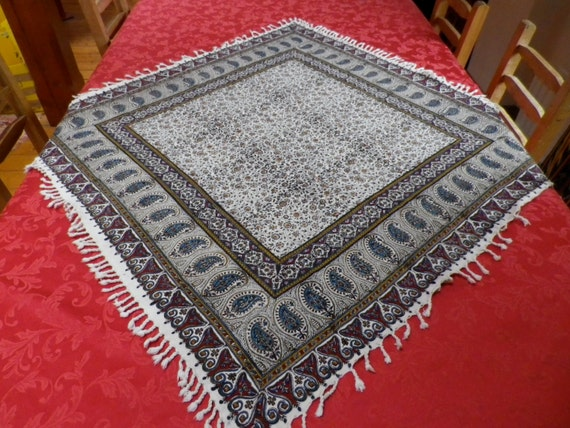 "Square tablecloth, wall decor, natural textile 39"" inches with tassels"