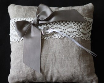 Natural linen wedding ring pillow / ring holder / ring bearer pillow with a bow