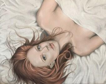 Original framed coloured pencil artwork. Red headed woman