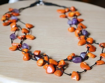 Amazing coral amethist necklace